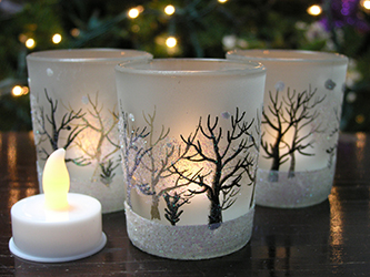 Frosted Glass Christmas Votive Candle Holder Trees